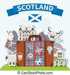 Scotland Travel Background - Scotland travel background with...