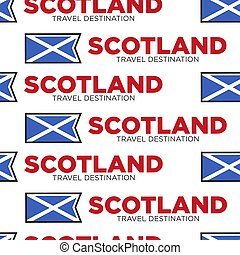 Scotland travel destination Scottish national flag seamless pattern