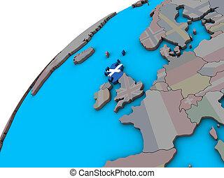 Scotland with flag on 3D globe