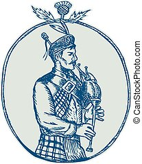 Scotsman Bagpiper Playing Bagpipes Etching - Etching...