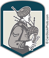 Scotsman Bagpiper Playing Bagpipes Crest Retro - ...