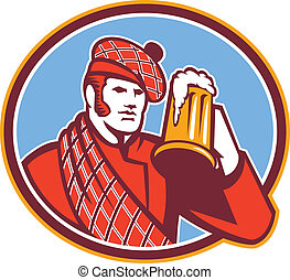 Illustration of a Scotsman Scottish beer drinker raising beer mug drinking looking up wearing tartan and beret hat set inside oval done in retro style.