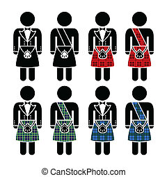 Scottish man in traditional outfit icons set isolated on white