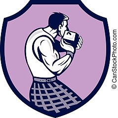 Scotsman Weight Throw Crest Retro - Illustration of a ...