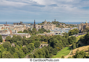 Scott monument, Carlton Hill and gardens in Edinburgh -...