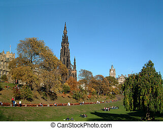 Scott monument - Scott Monument in Princes street gardens,...