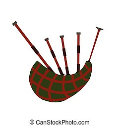 Scottish bagpipe flat icon isolated on white background