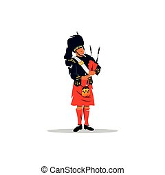 Scottish bagpiper. - A man in traditional dress with a...