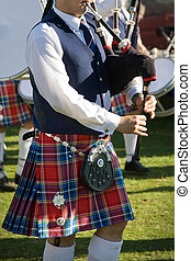 Close up of a piper from a Scottish pipe band, photographed at the Pitlochry Highland Games