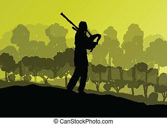 Scottish bagpiper silhouette landscape vector background concept for poster