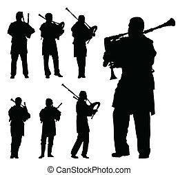 Scottish bagpiper silhouette vector background set