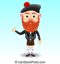 Scottish character in kilt - Scottish character male cartoon...