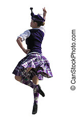 A girl performing a highland dance for the judges. Isolated on white with a clipping path
