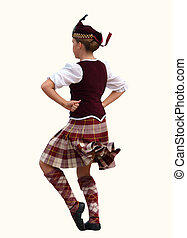 Scottish Dancer - Highland dancer isolated with clipping...