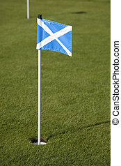 Scottish Flag on Golf Course in the Isle of Arran, Scotland