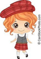 Scottish Girl - Illustration Featuring a Girl Wearing a...