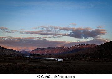 Scottish highlands sunset