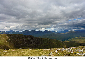 Scottish Highlands with dramatic sky - beautiful colored...