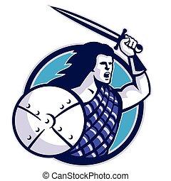 scottish-hilander-sword-shield
