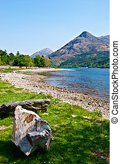 Loch Leven - scottish landscape surrounding Loch Leven with...