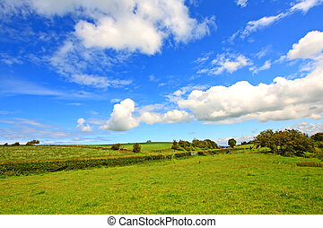 Scottish landscape with clouds in the sky