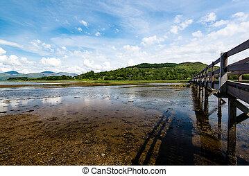 Scottish landscape with wooden footbridge