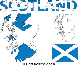 Scottish map and flag - Outline map of Scotland filled with...