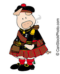 Scottish pig with kilt and pipe.
