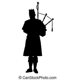 Scottish Piper - A black silhouette of a Scottish piper...