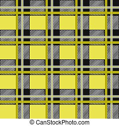 Scottish plaid, MacLeod tartan seamless pattern, three black stripes over the yellow field
