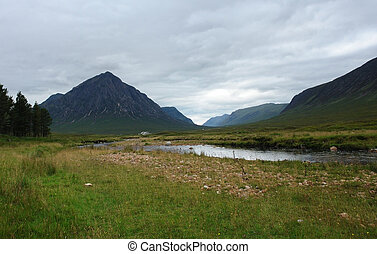 clouded scenery in Scotland around Rannoch Moor at summer time