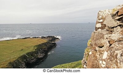 Scottish rock seascape, Isle of Skye, Scotland, UK - wide...