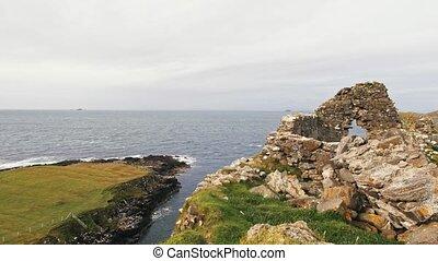 Scottish rock seascape, Isle of Skye, Scotland, UK - wide...