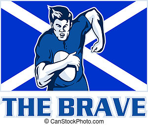 Scottish rugby player scotland flag - illustration of a...