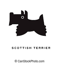 Scottish terrier dog silhouette isolated on white background