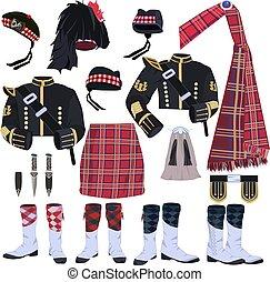 Scottish traditional clothing vector icon set. Scottish...