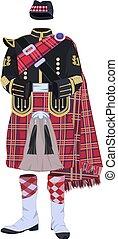 Scottish traditional clothing vector illustration - Vector...