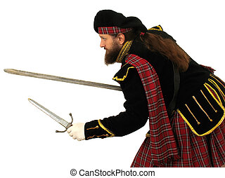 Scottish warrior with sword and dagger - Scottish warrior in...