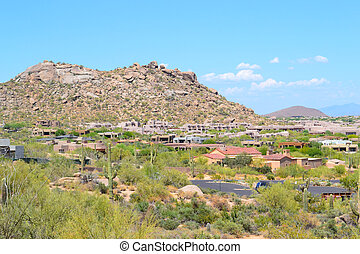 scottsdale, antenn, arizona, synhåll