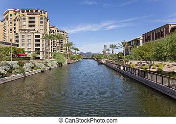 Scottsdale Arizona Waterfront Distr - Buildings along the...
