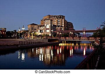 Scottsdale Arizona Waterfront - Buildings along the Salt...