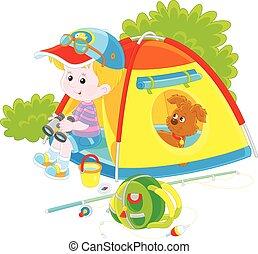 scout, à, a, camper tente