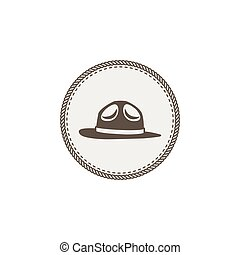scout, autocollant, vendange, isolé, illustration, main, vecteur, aventure, fond, design., dessiné, icon., pièce, chapeau, blanc, stockage