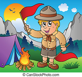Scout boy with flags outdoor - vector illustration.