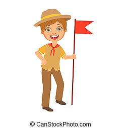 Scout boy with red flag dressed in uniform, a colorful character