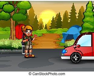 scout, camping, forêt, explorateur, uniforme, girl