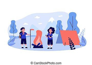 scout, camping, gosses, montagnes