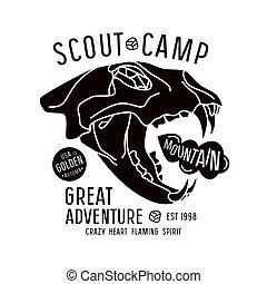 scout, emblème, camp