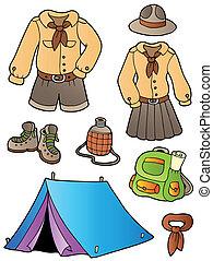 scout, engrenage, collection, vêtements