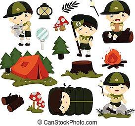 scout, ensemble, collection, gosses